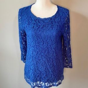 Beautiful Blue Lace Forever 21 Long Sleeve Blouse